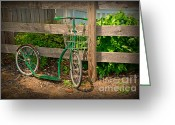 Bike Riding Greeting Cards - Vintage Bicycle at Rest - Painterly Greeting Card by Paul Ward