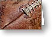 Stitches Greeting Cards - Vintage Football Greeting Card by Art Blocks