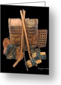 Hockey Mixed Media Greeting Cards - Vintage Hockey Equipment #2 Greeting Card by Spencer Hall