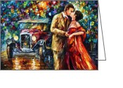 Making Out Greeting Cards - Vintage Kiss Greeting Card by Leonid Afremov