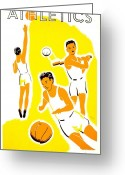 Baseball Poster Greeting Cards - Vintage Poster - WPA - Athletics 1 Greeting Card by Benjamin Yeager