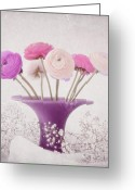Purple Floral Greeting Cards - Violett Greeting Card by Kristin Kreet