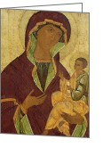 Virgin Maria Greeting Cards - Virgin and Child Greeting Card by Russian School