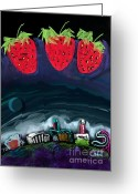 Strawberry Pastels Greeting Cards - Vista Strawberry Festival Greeting Card by AJ Williamson