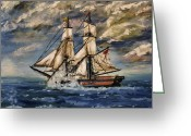 Sailing Fast Greeting Cards - Voyage of the Cloud Chaser Greeting Card by Abbie Shores