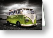 Campervan Greeting Cards - VW camper van Greeting Card by Ian Hufton