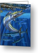 Virgin Islands Painting Greeting Cards - Wahoo Rip Greeting Card by Carey Chen