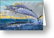 Black Bart Greeting Cards - Wahoo sunrise Greeting Card by Carey Chen