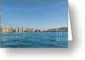 Diamond Head Greeting Cards - Waikiki to Diamond Head Greeting Card by Jon Burch