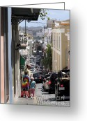 Cristo Street Greeting Cards - Walking in Old San Juan Greeting Card by Jo Ann Snover