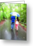 Diannah Lynch Greeting Cards - Walking In The Rain Greeting Card by Diannah Lynch