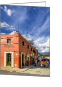Colonial Scene Greeting Cards - Walking The Colorful Streets Of Oaxaca Greeting Card by Mark E Tisdale
