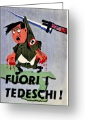 Nazi Greeting Cards - War Poster - WW2 - Out With The Fuhrer Greeting Card by Benjamin Yeager