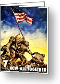 Flag Raising Greeting Cards - War Poster - WW2 - Iwo Jima Greeting Card by Benjamin Yeager