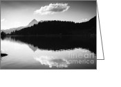 Grey Clouds Greeting Cards - Water reflection black and white Greeting Card by Matthias Hauser
