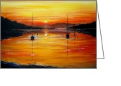Sunset Scenes. Painting Greeting Cards - Watery Sunset Greeting Card by Andrew Read