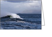 Spume Greeting Cards - Waves in easkey 2 Greeting Card by Tony Reddington