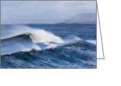 Spume Greeting Cards - Waves in easkey 4 Greeting Card by Tony Reddington