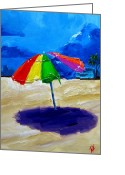 Beach Umbrella Painting Greeting Cards - We left the umbrella under the storm Greeting Card by Patricia Awapara