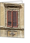 Old World Photography Greeting Cards - Weathered Red Wood Window Shutters of Tuscany II Greeting Card by David Letts