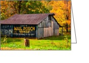 Chewing Tobacco Greeting Cards - West Virginia Barn oil Greeting Card by Steve Harrington