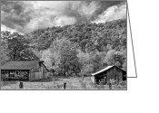Chewing Tobacco Greeting Cards - West Virginia Barns monochrome Greeting Card by Steve Harrington
