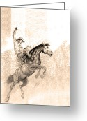 Bronc Greeting Cards - Western Art In Cuenca Ecuador Greeting Card by Al Bourassa