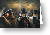 Lawmen Greeting Cards - Western Justice Greeting Card by Donna  Hillman Walsh