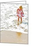 Flowered Dress Greeting Cards - Wet Toes Greeting Card by Lifestyle Photos By Tara