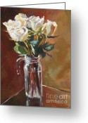 Pitcher Painting Greeting Cards - White Roses and Glass Greeting Card by David Lloyd Glover