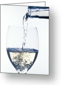 Splashing Greeting Cards - White wine pouring Greeting Card by Garry Gay