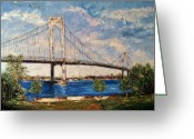 Park Benches Greeting Cards - Whitestone Bridge Greeting Card by Helen Wendle