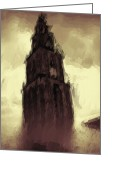 Haunted  Digital Art Greeting Cards - Wicked Tower Greeting Card by Ayse Toyran