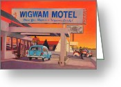 Motel Greeting Cards - Wigwam Motel Greeting Card by Art West