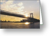 Manhattan Sunset Greeting Cards - Williamsburg Bridge - Sunset - New York City Greeting Card by Vivienne Gucwa