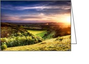 Simon Bratt Photography Greeting Cards - Winchester hill sunset Greeting Card by Simon Bratt Photography