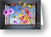 Green Room Greeting Cards - Window of Fowers Greeting Card by Carlos Caetano