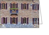 Old World Photography Greeting Cards - Windows of a Tuscan Office Building Greeting Card by David Letts