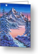 Hyper-realism Painting Greeting Cards - Winter Moon Greeting Card by  David Lloyd Glover