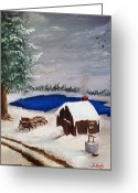 Snowy Night Greeting Cards - Winter Greeting Card by Roy J Moyle