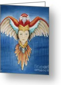 Spirit Rising Greeting Cards - Wisdom Rising Greeting Card by Kym Stine