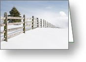 Winter Scenes Photo Greeting Cards - Wood fence Greeting Card by Gary Heller