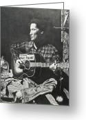 Woody Guthrie Greeting Cards - Woody Guthrie Greeting Card by Charles Rogers