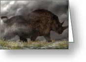 Dinosaurs Digital Art Greeting Cards - Woolly Rhinoceros Greeting Card by Daniel Eskridge