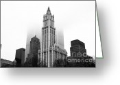 1990s Greeting Cards - Woolworth Building 1990s Greeting Card by John Rizzuto