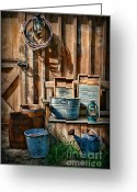 Wash Board Greeting Cards - Work at the Farm Greeting Card by Paul Ward