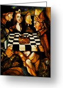 Knights Castle Painting Greeting Cards - World Chess   Greeting Card by Dalgis Edelson