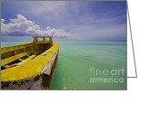 Old World Photography Greeting Cards - Worn Yellow Fishing Boat of Aruba II Greeting Card by David Letts