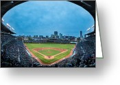 Wide Angle Photo Greeting Cards - Wrigley Field Night Game Chicago Greeting Card by Steve Gadomski