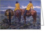 Raining Painting Greeting Cards - Yellow Slickers Greeting Card by Randy Follis